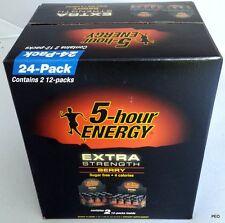5 Hour Energy Shot Extra Strength Berry Flavor 24 count 1.93 oz Sugar Free Five