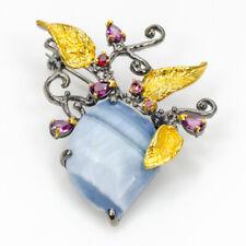 Fine Art Natural Blue Opal 925 Sterling Silver Brooch /NB05896