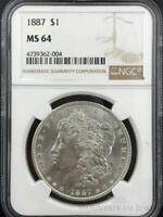 1887-P Morgan Dollar $1 Dollar NGC Graded MS64 Silver Coin (CO4-DU-4739362-004)