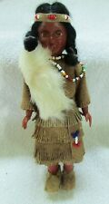 Vintage Native American Indian Doll Leather Beadwork & Fur Clothing Moving Eyes