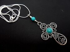 "A LOVELY TIBETAN SILVER CROSS/CRUCIFIX TURQUOISE BEAD NECKLACE. 18"" SNAKE CHAIN"