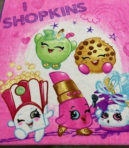 "Shopkins Plush Fleece Blanket ""I Love Shopkins"" Pink/Shopkins Characters 60""X48"""