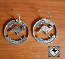 AUSTRALIA  Kangaroo Half Penny Coin Earrings.Pewter & .925 Silver Hooks.Aussie