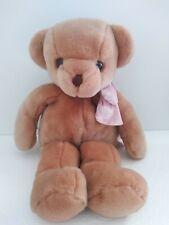 "TEDDY BEAR Tan Plush Stuffed Animal pink velour bow soft lovey 18"""