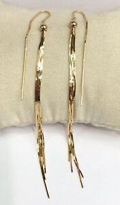 18k Solid Yellow Gold Shiny  Long Hook Dangle Earrings, Diamond Cut 6.16 Grams