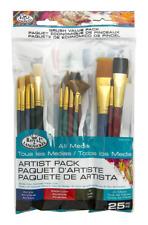 25 Pc Artist Paint Brush & Palette Knife Value Set Mixed Art Craft Brushes 9387