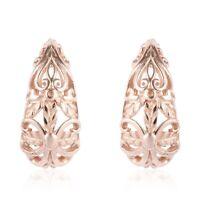 Boho Handmade 14K Rose Gold Over 925 Sterling Silver Hoop Hoops Earrings Gift