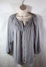Daniel Rainn Gray Semi-Sheer Pin Tucked Smocked Front Button Front Tunic Top Med