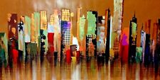 "City Skyline/ Coaster Original/ Oil  5 Feet X 2 feet 6"" like New York City skyli"