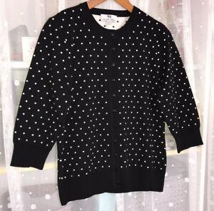 PETER HAHN Ladies Black White Spotted Cotton Silk 3/4 Sleeve Cardigan UK 14 EU42