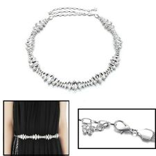 Women Ladies Girl Rhinestone Belt Diamante Chain Waist Bridal Wedding Silver 810