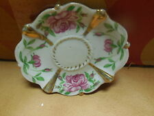 "OCCUPIED JAPAN OVAL TEA CUP ROSE / GOLD DESIGN SAUCER PLATE 4 1/2"" X 4"""