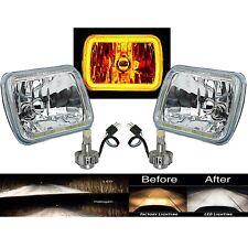 "7X6"" Plasma Amber COB LED Glass/Metal Headlight 6k LED Light Bulb Headlamp Pair"