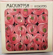 """Set of 8 Laminated Cork Back Coasters (4""""x4"""") Rose & Teardrop, Mackintosh, Pom."""