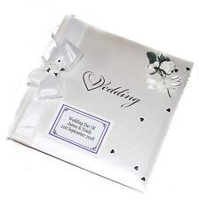 White Traditional Wedding Album Personalised Gift Bride & Groom White Roses