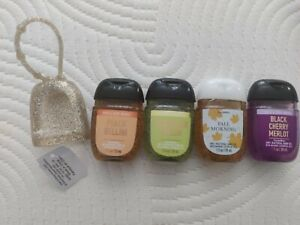 Bath and body works set, 4 hand gels and glitter holder