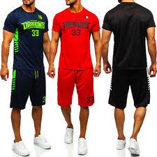 Trainingsanzug Jogginganzug T-Shirt Shorts Sporthose Kurz Men Herren BOLF Print