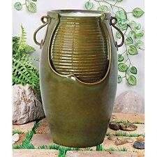 SS11344 - Ceramic Rippling Jar Garden Fountain w/Pump & LED Light Kit!