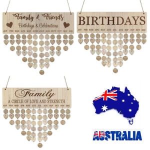 Wooden DIY Hanging Calendar Birthday Family&Friends Reminder Board Plaque Decor