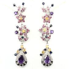 Real Purple Amethyst Ruby, Sapphire, Spinel 925 Sterling Silver Dangle  Earrings