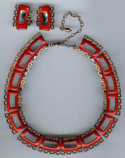 "MATISSE ""DIANA"" VINTAGE BRIGHT RED ENAMEL COPPER NECKLACE & EARRINGS SET"