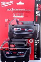 (2) NEW IN PACKAGE Milwaukee M18 48-11-1850 5.0 AH Batteries 5.0 18V 48-11-1852
