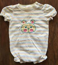 Vintage Healthtex Girls Summer Bubble Romper Bunny Applique Pastel Stripe Sz 18m