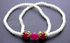 4mm White Coral Bracelet for Women with Round 8mm Rose Pink Jade 2 Strands 7.5""