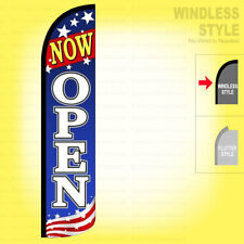 Now Open Windless Swooper Flag 25x115 Ft Feather Banner Sign Bzja6