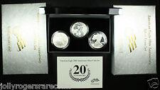 American Silver Eagle. 2006 20th Anniversary 3 Coin Set. Lot # 9004-001