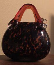 Vintage MURANO STYLE Hand Blown Decorative ART GLASS PURSE Tortoise Shell