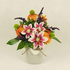Accordo artificiale in vaso in ceramica, seta fiori in vaso-Brillante Bird Jar