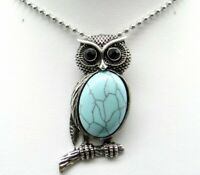 Natural Turquoise Gem beads animal Owl Retro Silver Pendant necklace Jewelry P1
