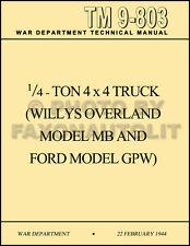 1941-1945 Willys MB Ford GPW Jeep Operation Maintenance Manual TM9803 WW2