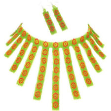 NEW RED GREEN HANDCRAFTED BEADED NATIVE STYLE FASHION NECKLACE EARRINGS SET