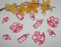 50 Stk. Schnuller, Fläschchen und Schaukelpferde - Deko - Taufe - Geburt - rosa