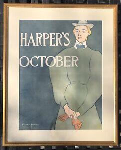 Original Harper's October 1896 Magazine Poster Edward Penfield Framed Lithograph