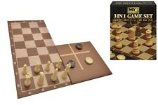 3 in 1 Traditional Retro Board Game Set Compendium Chess Draughts Tic Tac Toe
