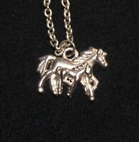 Mare and Foal Horse Necklace Running Silver Toned Chain Beautiful Horses