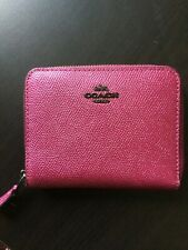 Coach Small Zip Around Leather Wallet Metallic Magenta