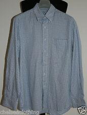 Camicia da uomo CELIO 100% Cotone in Tessuto Francese M Bianco/Blu a Quadri Colletto/Polsini con bottone