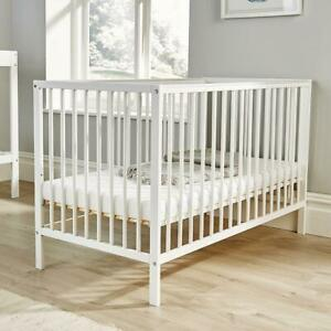 Lullaby White Pine Baby Cot Nursery Wooden Cotbed 3 Position Height Adjustable