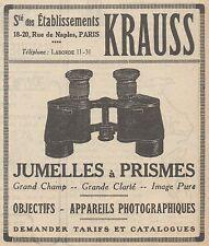 Z9175 Jumelles à prismes KRAUSS -  Pubblicità d'epoca - 1929 Old advertising