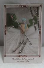 AK Neujahrskarte Kind beim Skifahren gel. 1930