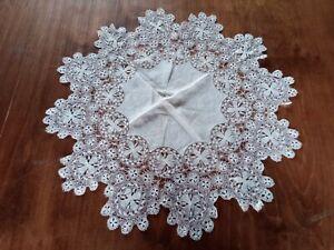 Superb Antique Beautiful English Cream Hand - Made Silk Cloth & Lace Tablecloth