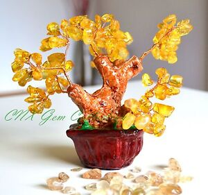 Natural Gemstone Crystal Citrine Hand Made Copper Wired Gem Tree Home Decor