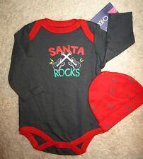 Cherokee Boys 2pc Santa Rocks! Gray & Red Holiday Set Size Newborn NWT