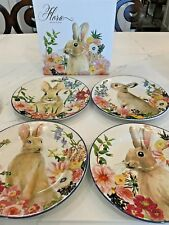 NEW IN BOX Pottery Barn Set/4 ~FLORAL BUNNY~ Salad PLATES Flora Easter Spring