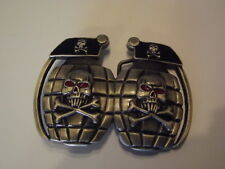 New Belt Buckle Skull Crossbones Hand Grenade NWOT