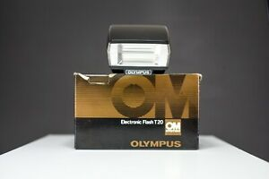 Olympus T20 Flash |  Box and Leather Case |  For Olympus OM10 OM20 OM30 OM4 OM1
